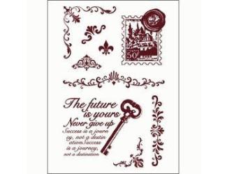 Gelová razítka - Klíč s textem, poštovní známka, girlandy