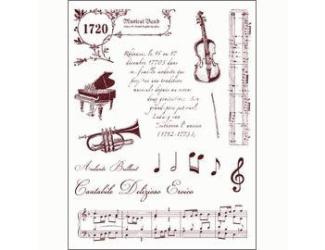 Gelová razítka - Housle,klavír,noty,trubka,texty