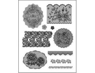 Gelová razítka - Krajky s růžičkami a srdíčky