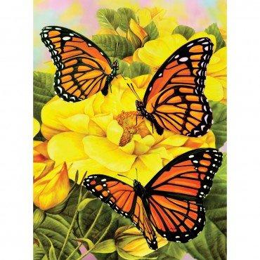 Malování podle čísel - Motýlci na žlutých kytkách