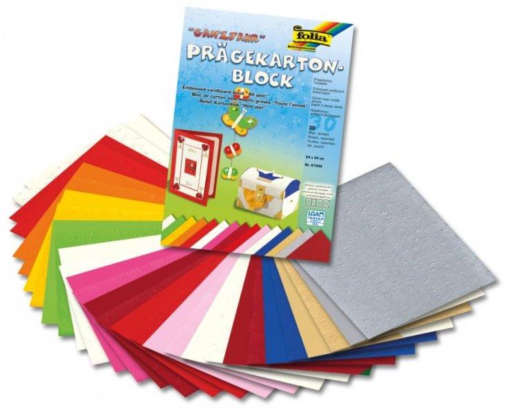 Vytlačovaný papír - celoroční motivy, 30 listů po 15 barvách, 220g, 24x34 cm