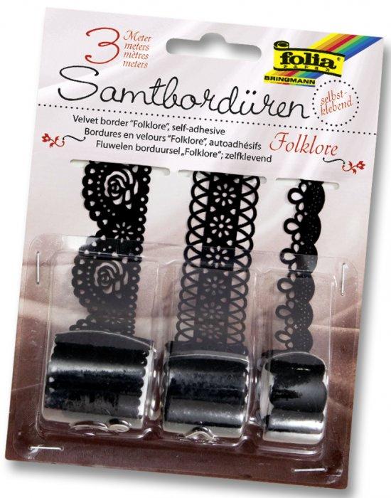 Samolepící papírová sametová krajka - černá, 3m