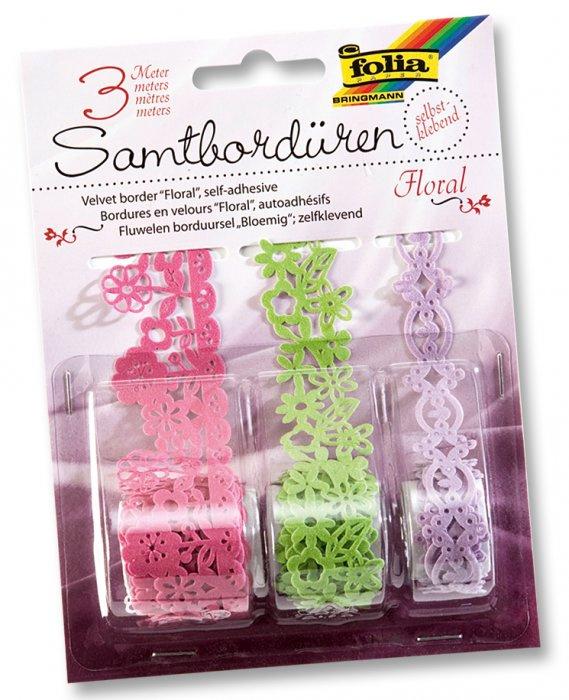 Samolepící papírová sametová krajka - růžová, zelená, fialková, 3m