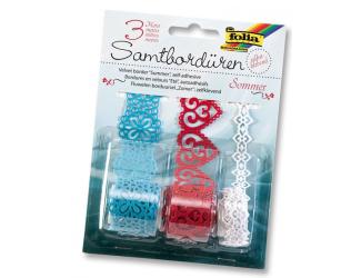 Samolepící papírová sametová krajka - tyrkysová,červená,bílá, 3m