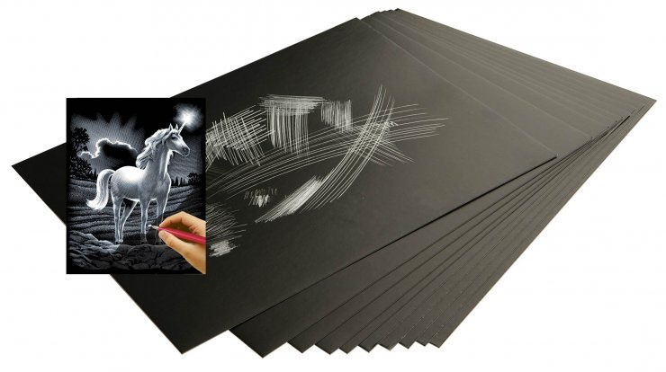Škrabací folie stříbrná 22,9 x 15,2 cm 10 ks