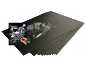Škrabací folie stříbrná 30,5 x 22,9 cm 10 ks