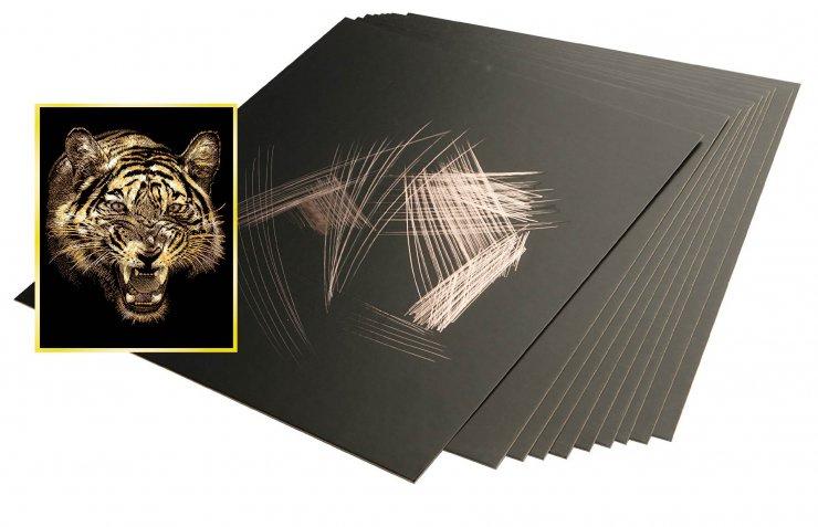 Škrabací folie zlatá 30,5 x 22,9 cm 10 ks