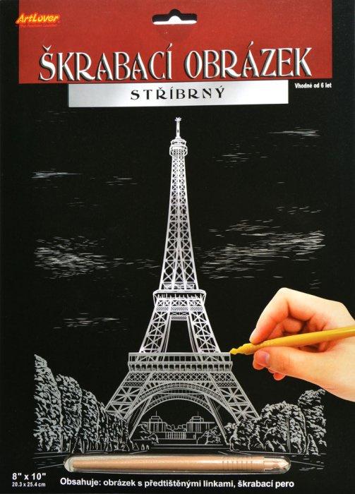 Škrabací obrázek stříbrný 20x25 cm - Eiffelova věž