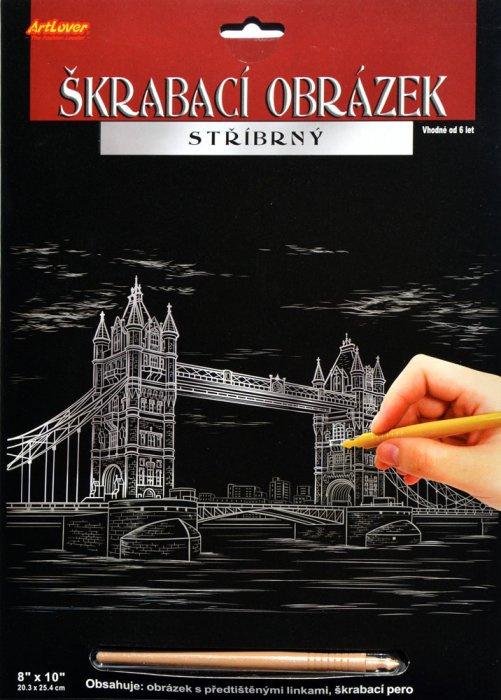 Škrabací obrázek stříbrný 20x25 cm - Tower Bridge