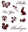 Gelová razítka - Zajíc, motýl, veverka