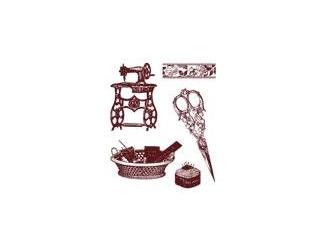 Gelová razítka - šicí stroj, nůžky