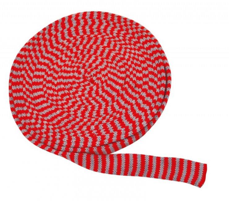 Pletený tubus 10m x 4cm červeno-šedý