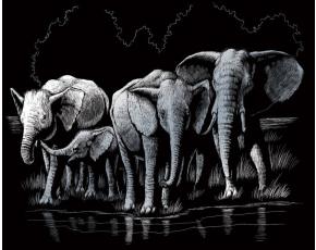 Vyškrabovací obrázek- Sloni
