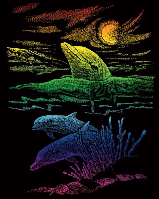 Škrabací obrázek- Duhový- Delfíni