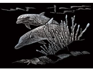 Seškrabovací obrázek- mini- Stříbrný- Delfíni