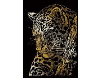 Seškrabovací obrázek - mini - zlatý - Leopard