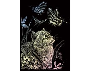 Seškrabovací obrázek - mini - Hologramický - Kočka s motýlem