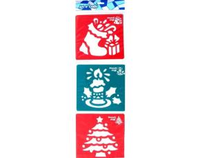 Šablony 3 ks - strom, svíčka a vánoční bota