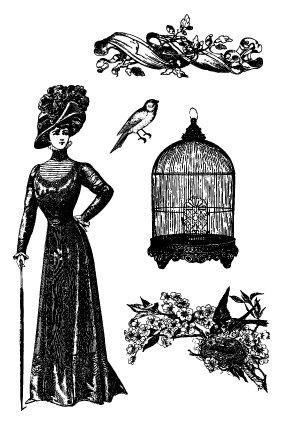 Razítka na pěnovce - Klec, ptáček