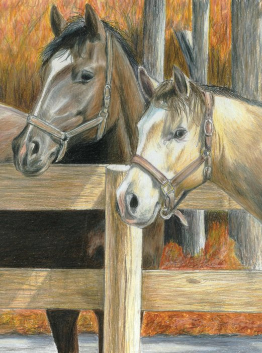 Malování podle čísel PASTELKAMI - Koně ve stáji