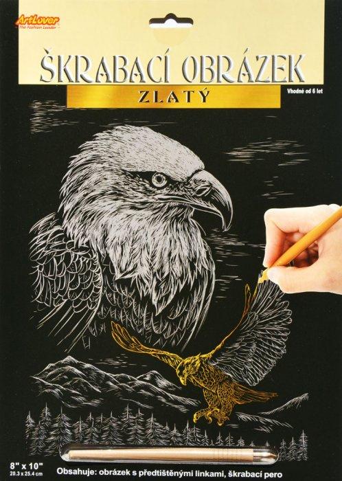 Škrabací obrázek zlatý - Orel