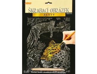 Vyškrabovací obrázek zlatý - Leopard