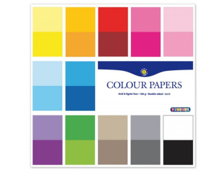 Barevné papíry 305x305 mm, 24 listů, 180g, oboustranný