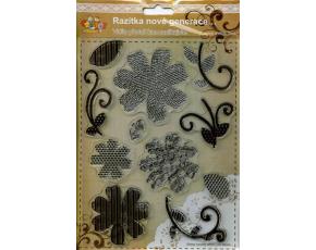 Gelová razítka - květy a stonky - proužkované, tečkované a s notami