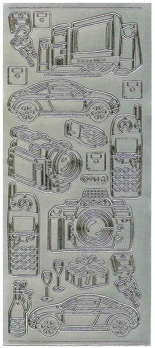 Obrysové samolepky- Telefon, auto, fotoaparat- stříbrné