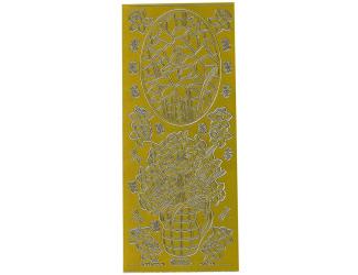 Obrysové samolepky- Květiny v květináči  - zlaté