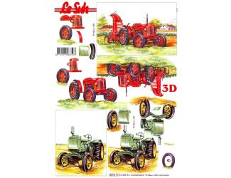 3D papíry pro vystřihování- červený a zelený traktor