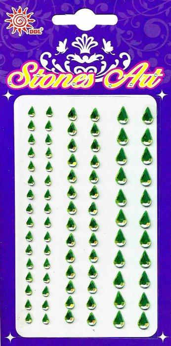 Samolepicí kamínky - zelené kapky