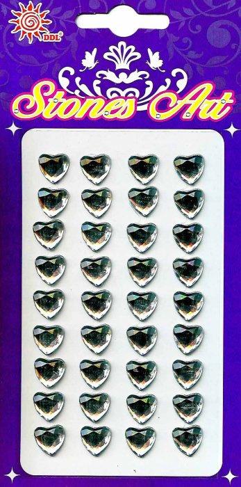 Samolepicí kamínky - stříbrná srdce
