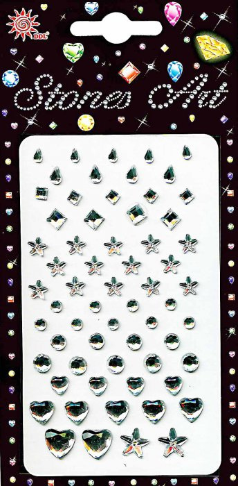 Samolepicí kamínky - stříbrný mix