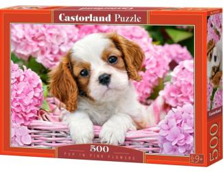 Puzzle Castorland 500 dílků - Štěňátko v růžových květinách