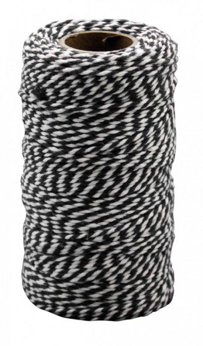 Bavlnka - černobílá, 100m x 2 mm
