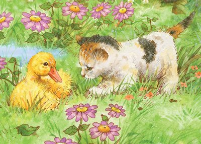 Malování podle čísel PASTELKAMI - Kotě a kachňátko