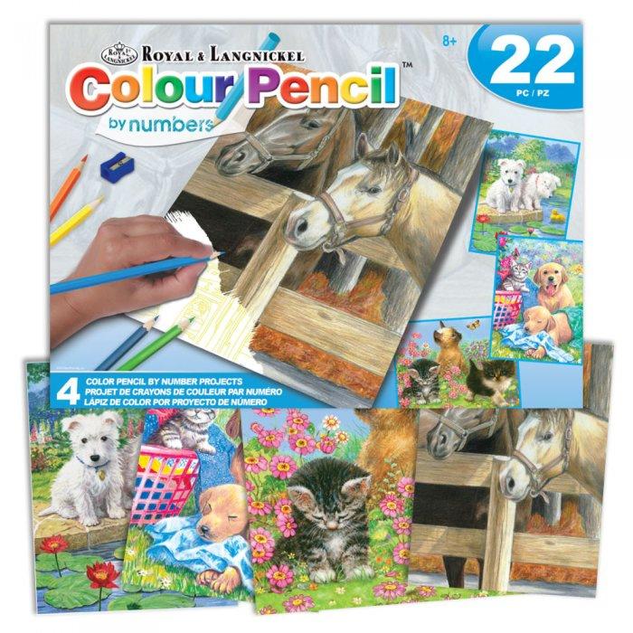Sada malování podle čísel pastelkami - Koně, pejsci a kočičky