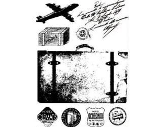 Gelová razítka - Cestování - letadlo, kufr