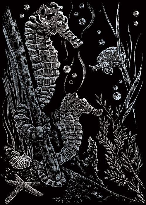 Seškrabovací obrázek- mini- Stříbrný- mořský koník