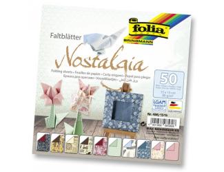 Papíry na skládání Origami, 50 listů, 15x15 cm, 80g – nostalgie