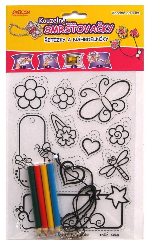 Smršťovací obrázek- Řetízky a náhrdelníky, květiny