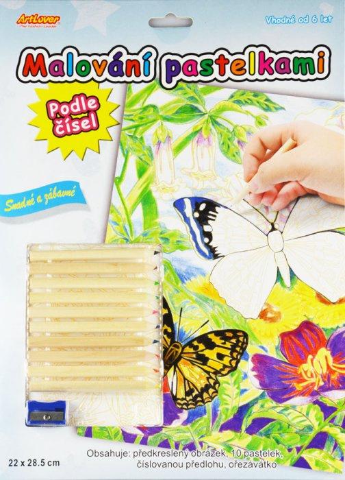 Malování pastelkami - motýlci