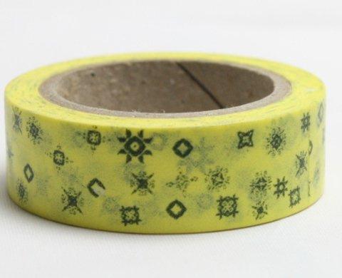 Dekorační lepicí páska - WASHI pásky-1ks hvězdy, symboly v žlutém