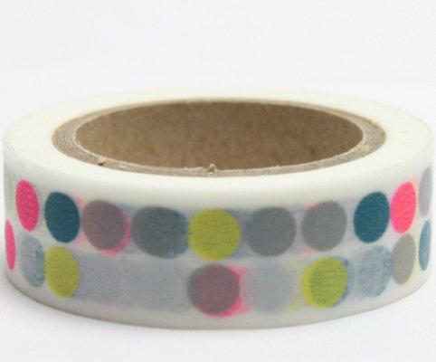 Dekorační lepicí páska - WASHI pásky-1ks puntíky neonové