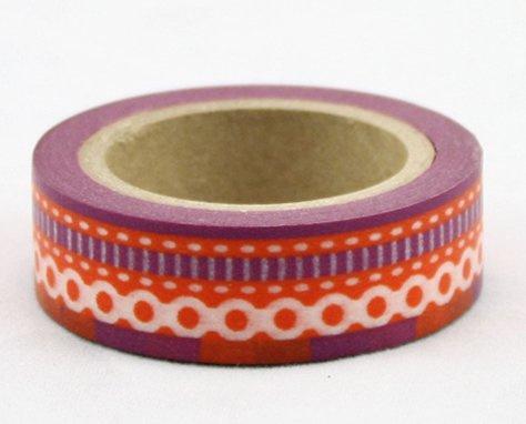 Dekorační lepicí páska - WASHI pásky-1ks bordura červená fialová šicí steh