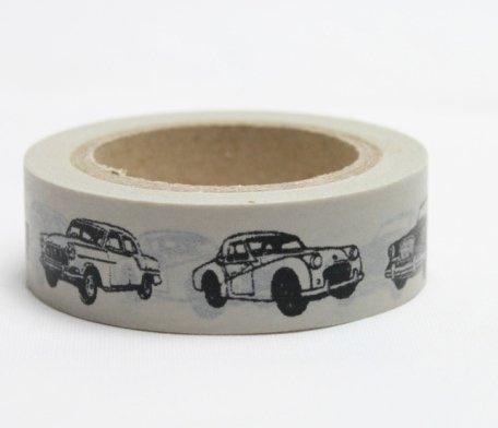 Dekorační lepicí páska - WASHI pásky-1ks auta veteráni