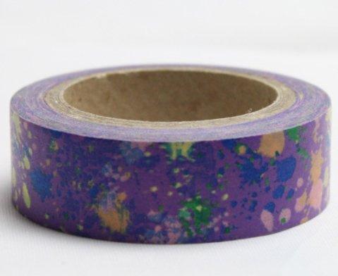 Dekorační lepicí páska - WASHI pásky-1ks rozcákané barvy ve fialové