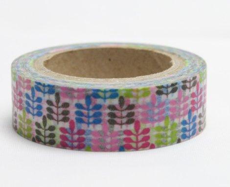 Dekorační lepicí páska - WASHI pásky-1ks barevné přesličky