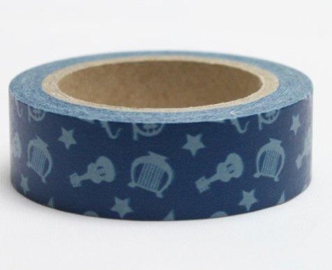 Dekorační lepicí páska - WASHI pásky-1ks hudební nástroje v modré